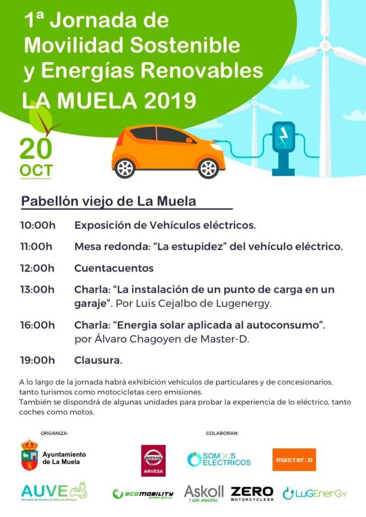 Cartel de la jornada de movilidad sostenible y energía renovable de La Muela