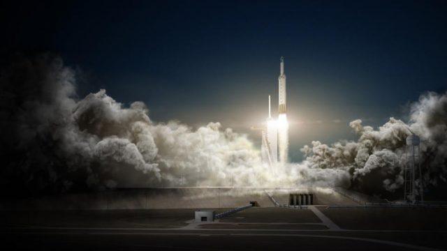 Imagen del Falcon Heavy de Space X