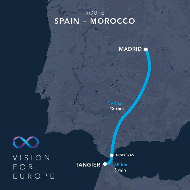 Hyperloop One trayecto Madrid-Tánger