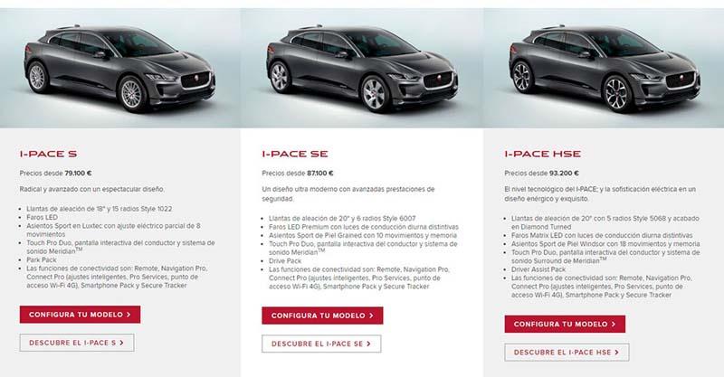Opciones y versiones del Jaguar I-PACE en el configurador de la web de Jaguar