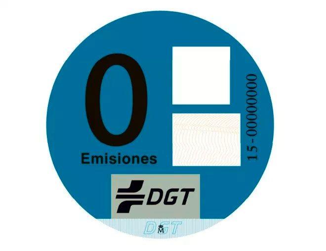 Ejemplo de la pegatina CERO Emisiones de la DGT