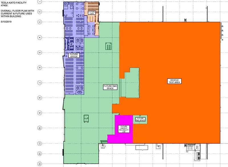 Plano de la distribución de la nueva zona de I+D de Tesla en la fábrica de Fremont