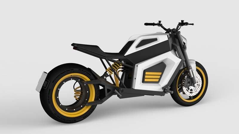 RMK-E2_motocicleta-electrica_blanca-amarilla-trasera