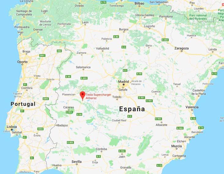 Mapa donde está situado el Supercharger de Almaraz en Cáceres (España)