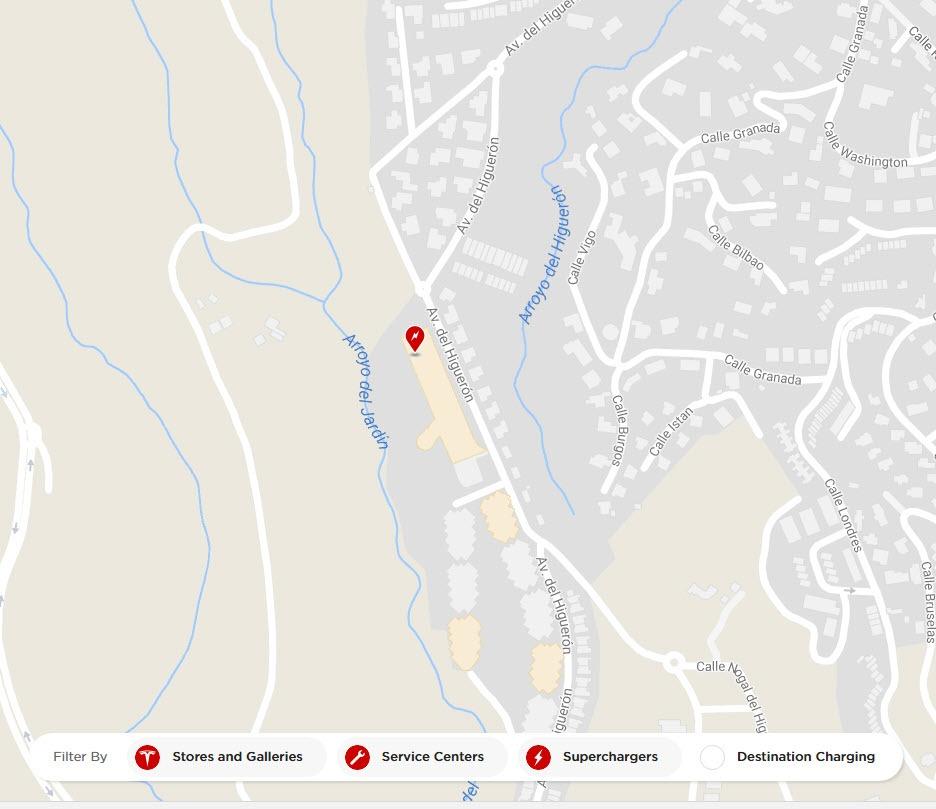 Detalle de la ubicación del Supercharger de Tesla en Málaga - Fuengirola