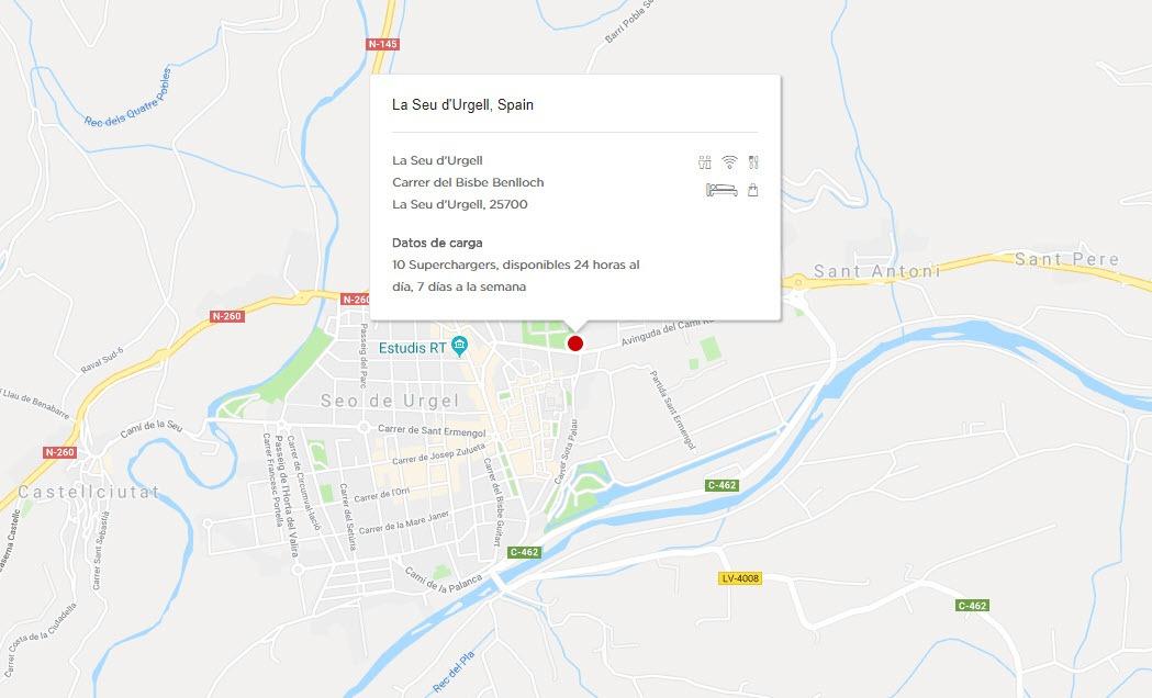 Mapa donde está situado el Supercharger de La Seu D'Urgell