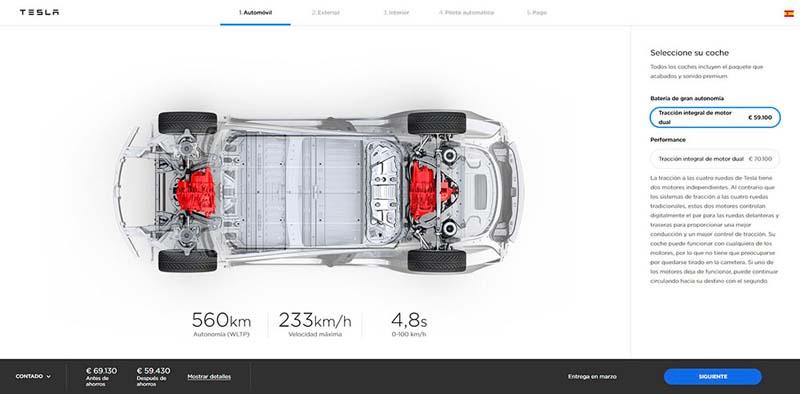 560 kms de autonomía del Tesla Model 3 Long Range Dual Motor
