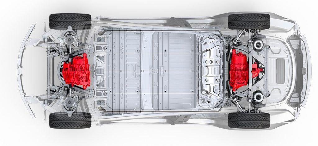 Imagen del Tesla Model 3 con doble motor. Motor Dual
