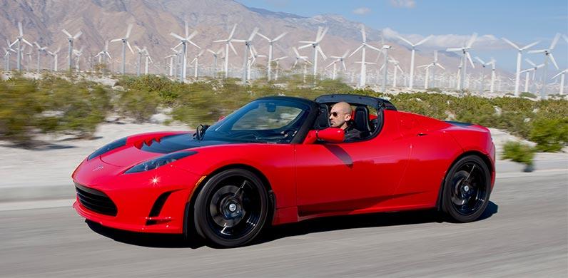 Foto del primer Tesla Roadster, el primer coche eléctrico de Tesla Motors