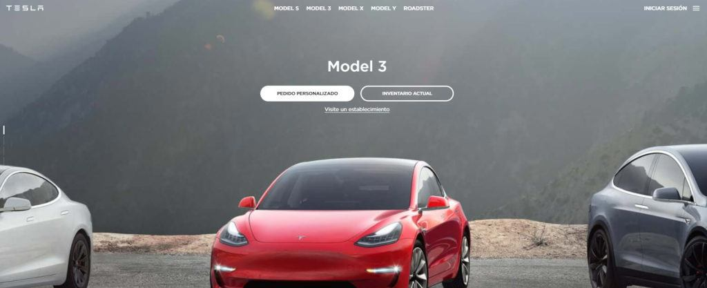 Imagen de la web oficial de Tesla en español